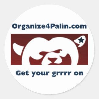 Pegatinas del folleto de Organize4Palin Pegatina Redonda