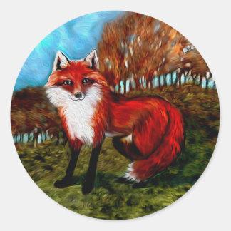 Pegatinas del Fox rojo Pegatina Redonda