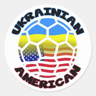 Pegatinas del fútbol de América del ucraniano Pegatina Redonda