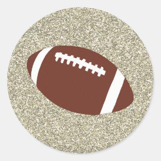 Pegatinas del fútbol del brillo del oro pegatina redonda