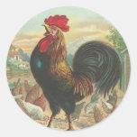 Pegatinas del gallo del vintage pegatina redonda