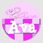 Pegatinas del gatito de Ava Etiquetas Redondas