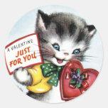 Pegatinas del gatito de la tarjeta del día de San Pegatina Redonda