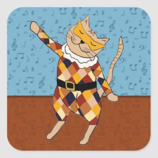 Pegatinas del gatito del Harlequin del baile Pegatina Cuadrada