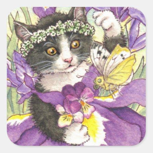 Pegatinas del gatito del iris holandés calcomanías cuadradas