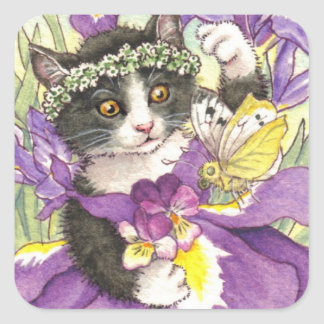 Pegatinas del gatito del iris holandés pegatina cuadrada