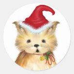 … Pegatinas del gatito del navidad del Pegatina Redonda