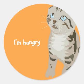 Pegatinas del gatito etiquetas redondas