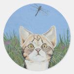 Pegatinas del gatito y de la libélula