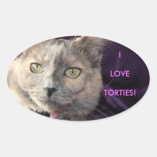 Pegatinas del gato pegatina ovalada