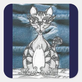Pegatinas del gato 14 pegatina cuadrada