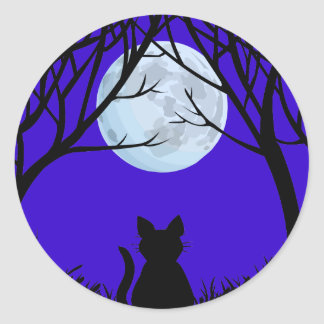 Pegatinas del gato de Halloween de la diversión de Pegatina Redonda
