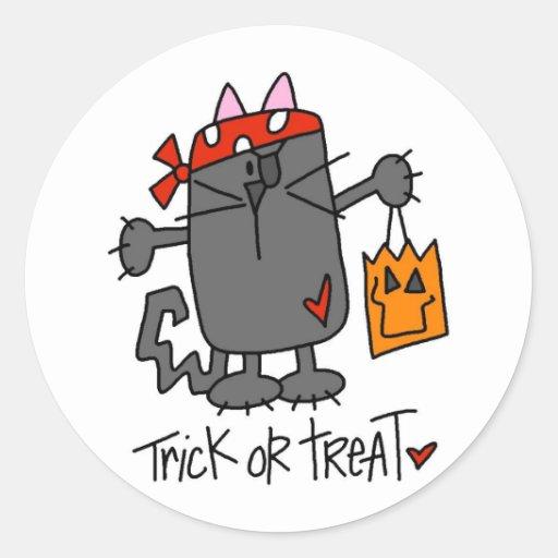 Pegatinas del gato de Halloween del truco o de la Pegatina Redonda