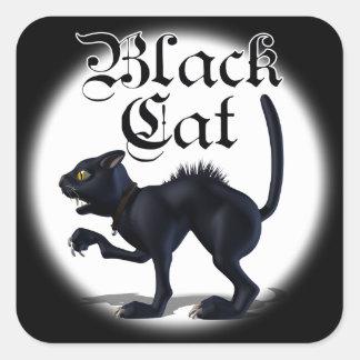Pegatinas del gato de la bruja calcomanías cuadradases