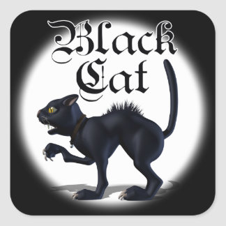 Pegatinas del gato de la bruja pegatina cuadrada