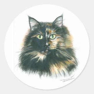 Pegatinas del gato de la concha pegatina redonda