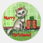 Pegatinas del gato de las Felices Navidad