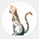 Pegatinas del gato de Steampunk Pegatina Redonda