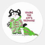 Pegatinas del gato del dibujo animado del día de etiqueta redonda