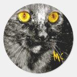 Pegatinas del gato del mono etiqueta redonda