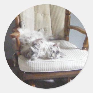 pegatinas del gato del relaxin pegatina redonda