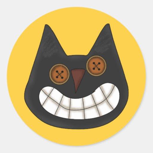 Pegatinas del gato negro de Halloween Pegatina Redonda