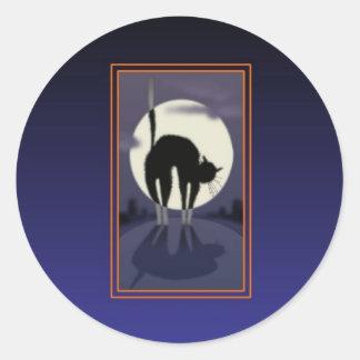 pegatinas del gato negro pegatina redonda