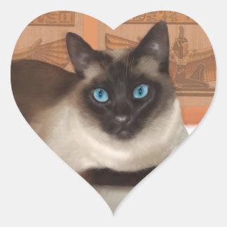 Pegatinas del gato siamés calcomanía de corazón personalizadas