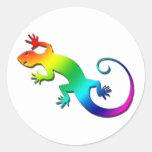 Pegatinas del Gecko del arco iris Etiquetas Redondas