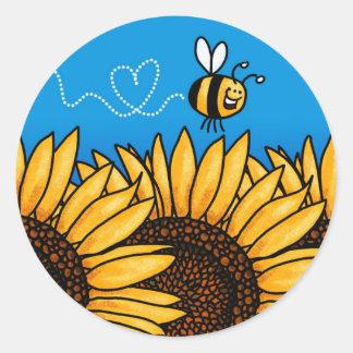 pegatinas del girasol del rastro de la abeja pegatina redonda