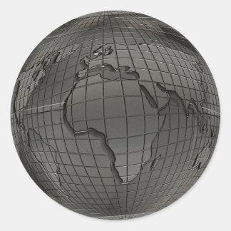 Pegatinas del globo del mundo de la mirada del pegatina redonda
