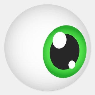 Pegatinas del globo del ojo (verde) pegatina redonda