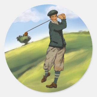 Pegatinas del golf del golfista de la apariencia pegatina redonda