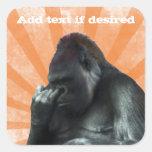 Pegatinas del gorila calcomania cuadradas personalizada