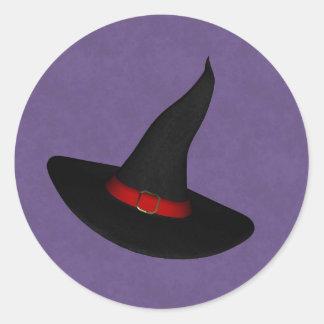 Pegatinas del gorra de la bruja pegatina redonda