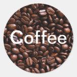 Pegatinas del grano de café etiquetas redondas
