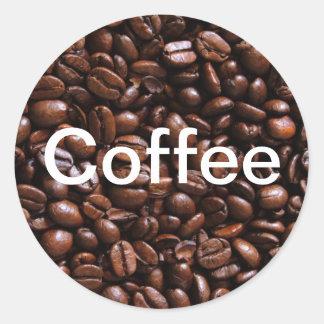 Pegatinas del grano de café pegatina redonda