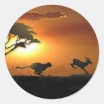 Pegatinas del guepardo y del Gazelle Pegatina Redonda