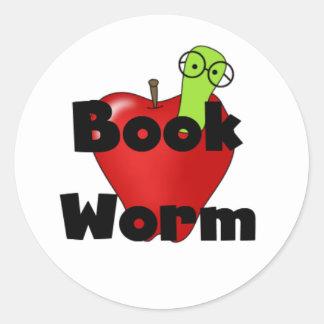 Pegatinas del gusano de libro pegatina redonda