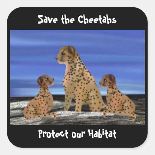 Pegatinas del hábitat del guepardo pegatina cuadradas