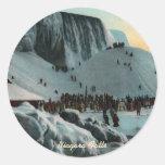 Pegatinas del hielo de Niagara Falls del vintage Pegatina Redonda