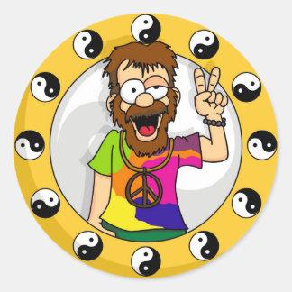 Pegatinas del Hippie Etiquetas Redondas