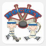 Pegatinas del hockey de los muchachos colcomanias cuadradas personalizadas
