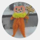 Pegatinas del hombre de la calabaza de Halloween Pegatina Redonda