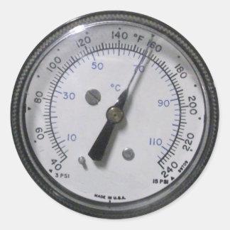 Pegatinas del indicador de presión etiqueta redonda