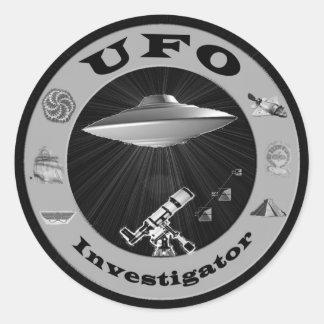 Pegatinas del investigador del UFO Pegatina Redonda