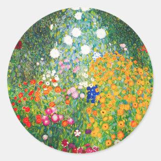 Pegatinas del jardín de flores de Gustavo Klimt Pegatina Redonda