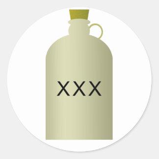 Pegatinas del jarro del alcohol ilegal etiquetas redondas