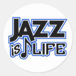 Pegatinas del jazz etiqueta redonda