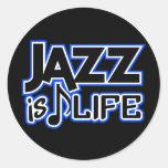 Pegatinas del jazz etiquetas redondas